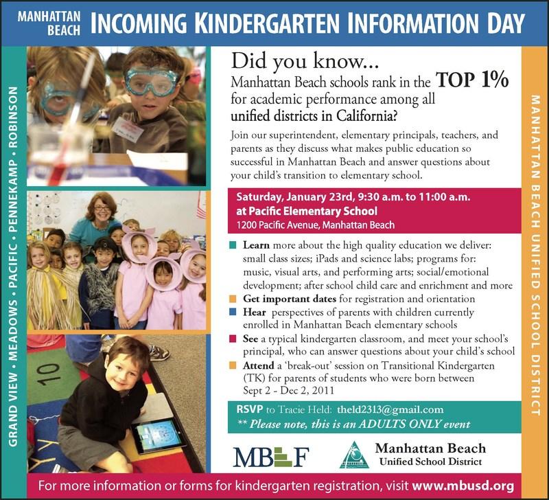 MBUSD Kindergarten Information Day is on Saturday, January 23, 2016