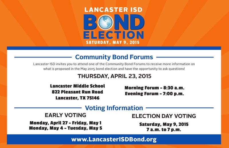 Lancaster ISD to Hold to Bond-related Community Forums on April 23.
