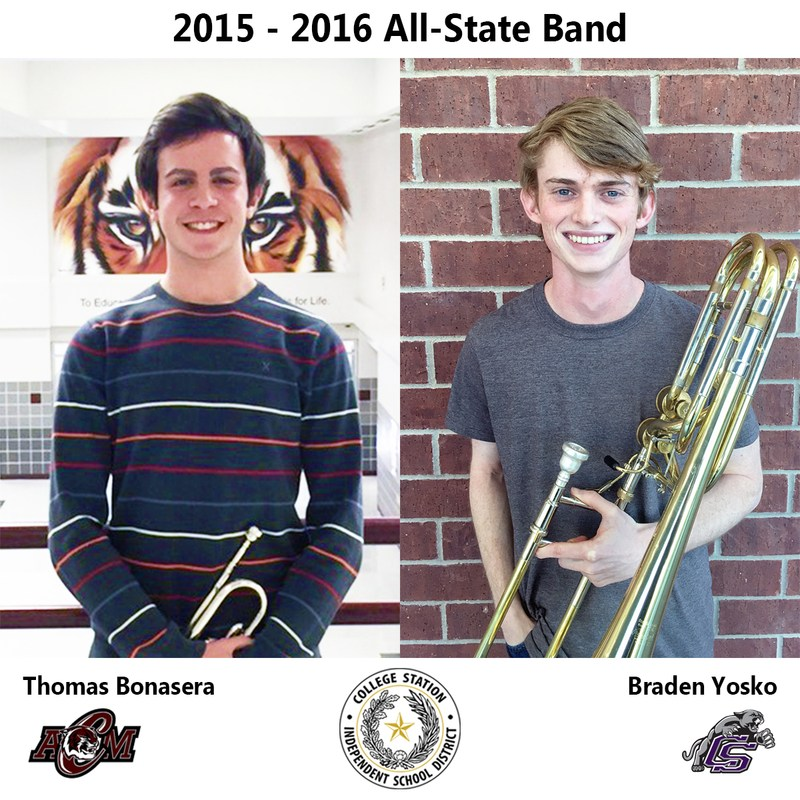 Two CSISD musicians selected to all-state band