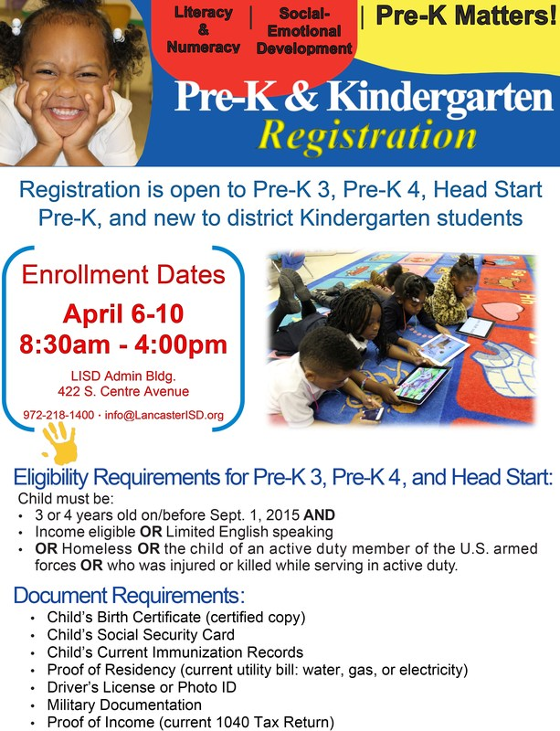 Lancaster ISD to Host Pre-K and Kindergarten Enrollment Week April 6-10