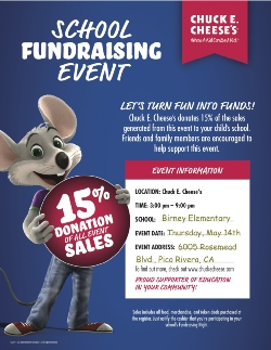 Chuck. E. Cheese Fundraiser for 5th Grade Outdoor Science School