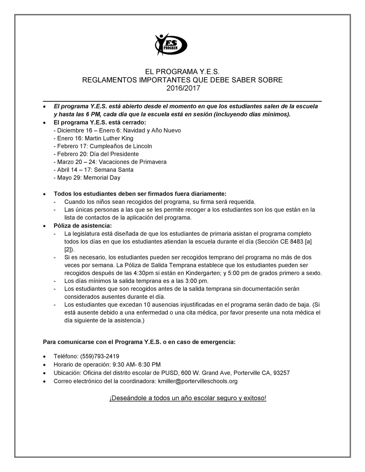 YES Program Facts (Spanish)