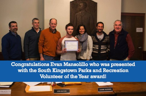Evan Mansolillo has been honored for his work to improve a skate park in South Kingstown