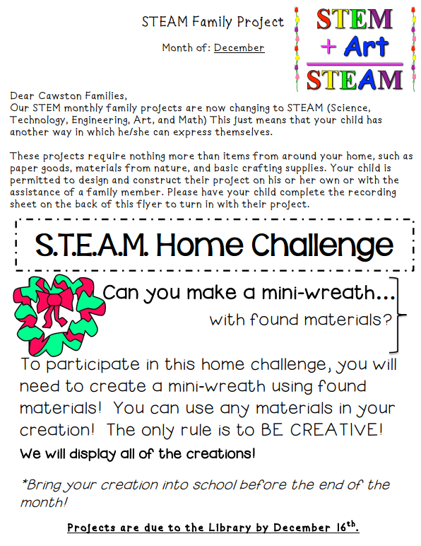December STEAM Family Project