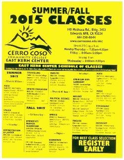 Cerro Coso 2015 Summer & Fall Classes
