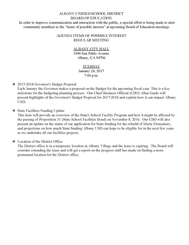 Agenda Items of Possible Interest Regular Meeting 1/24/17 (click for info)