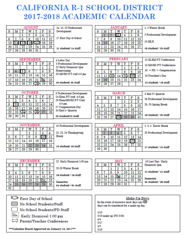 2017-18 District Calendar-Board Approved 1/18/17 Thumbnail Image