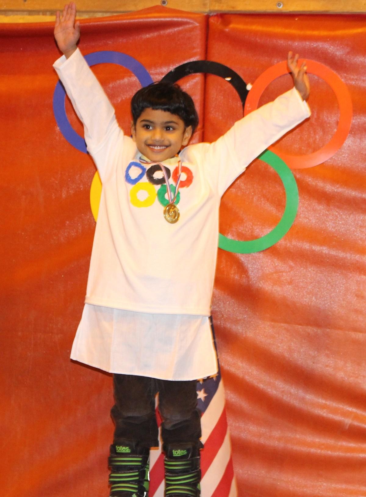 boy with Olympics shirt
