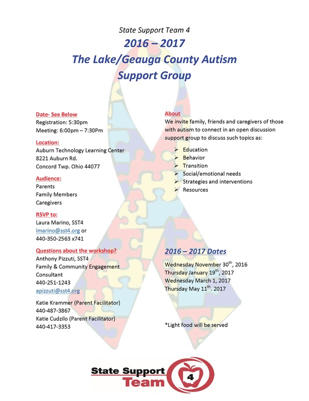 Auburn Hosts Lake/Geauga County Autism Support Group Meetings Thumbnail Image