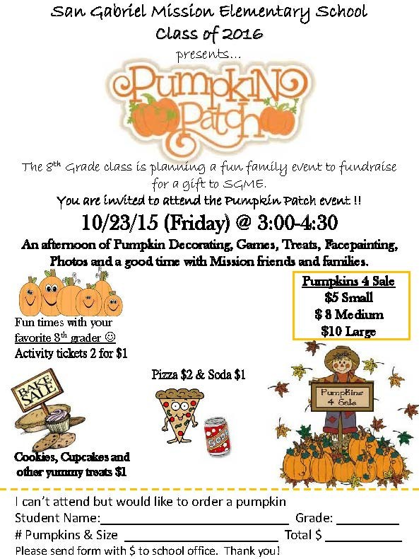 Pumpkin Patch on Friday, 10/23, 3:00-4:30 pm