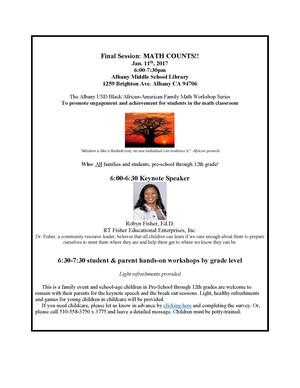 Flyer for Math Workshop on 1/11/17