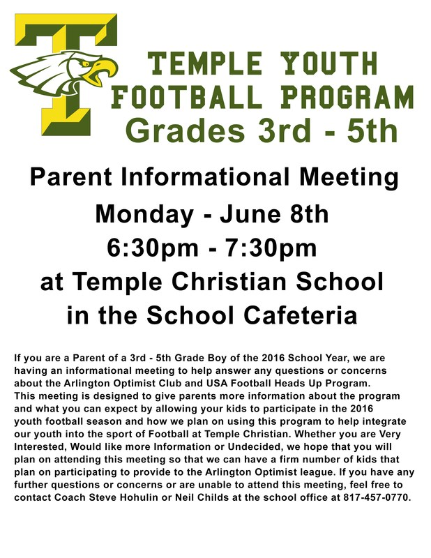 Temple Youth Football Program Meeting