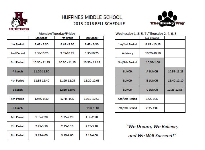 Hey Huskies! Don't forget BLOCK SCHEDULE starts TOMORROW - 9/9/15