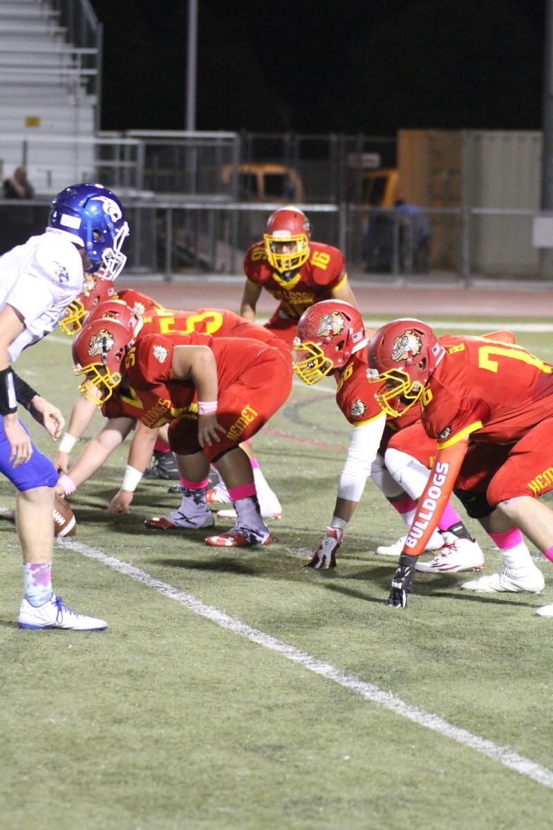 Hemet High Football Team Offensive Line.