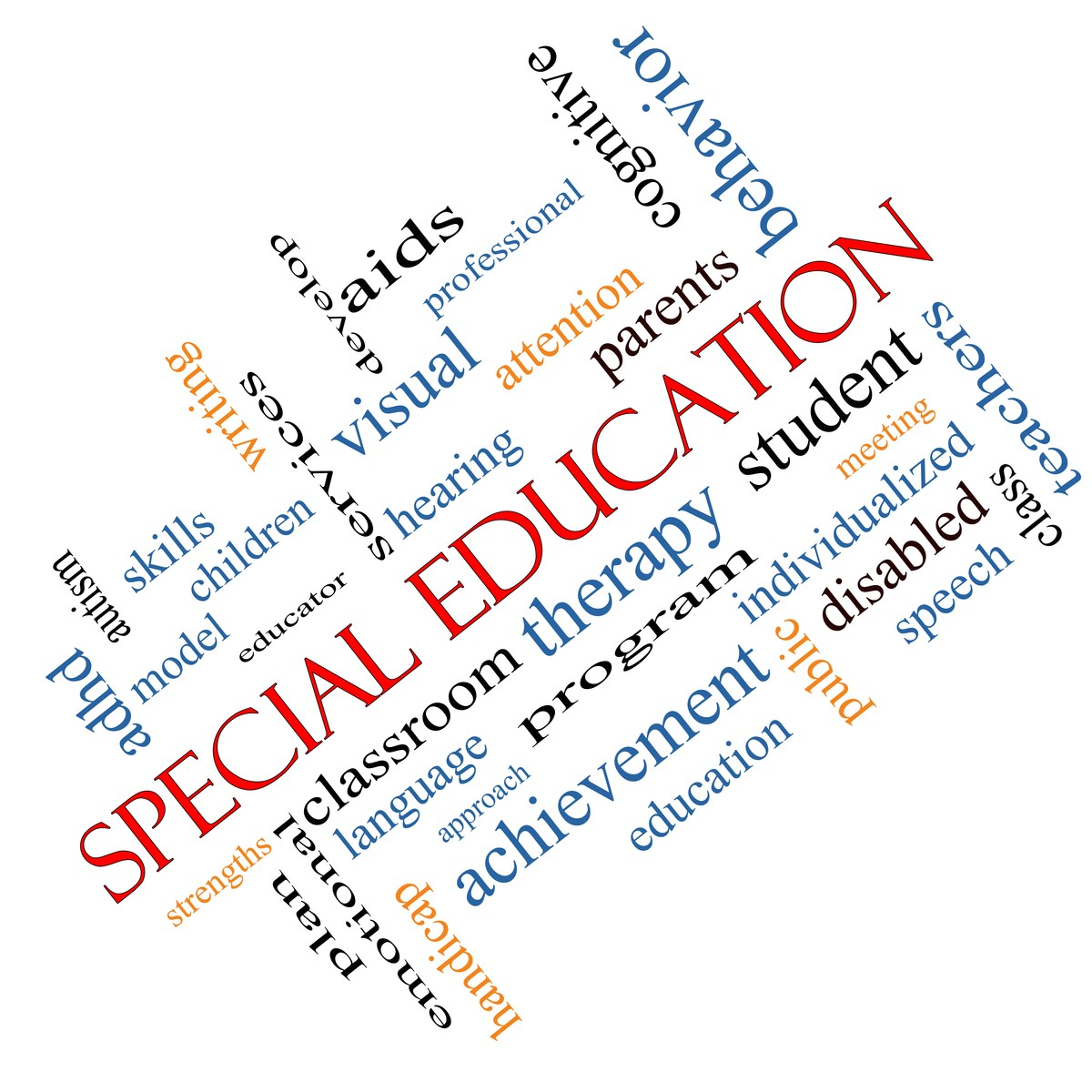 A graphic displaying different words used in special education, such as visual, hearing, therapy, disabled, speech, skills, etc.