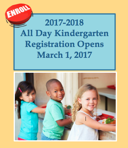 All Day Kindergarten & New Student Registration Opens March 1, 2017 Featured Photo