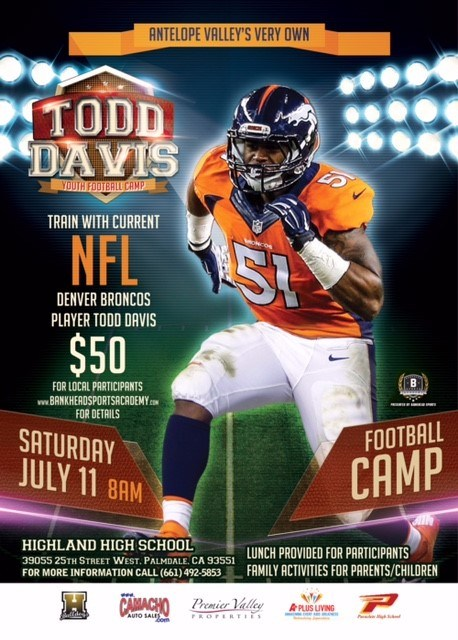 Paraclete Alum and NFL linebacker to hold camp in the AV