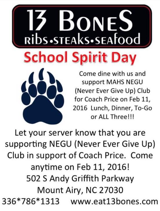 13 Bones School Spirit Day for Coach Price