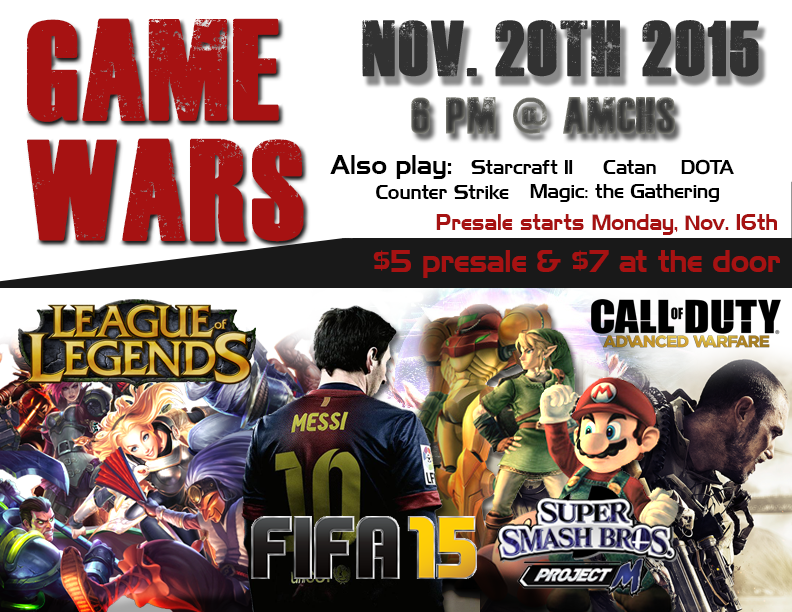 Game Wars – Video Game Tournament, Friday 11/20 @ 6:00pm