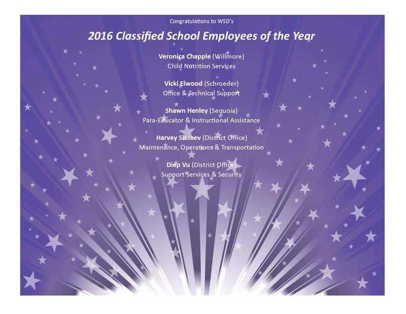 2016 Classified School Employees of the Year