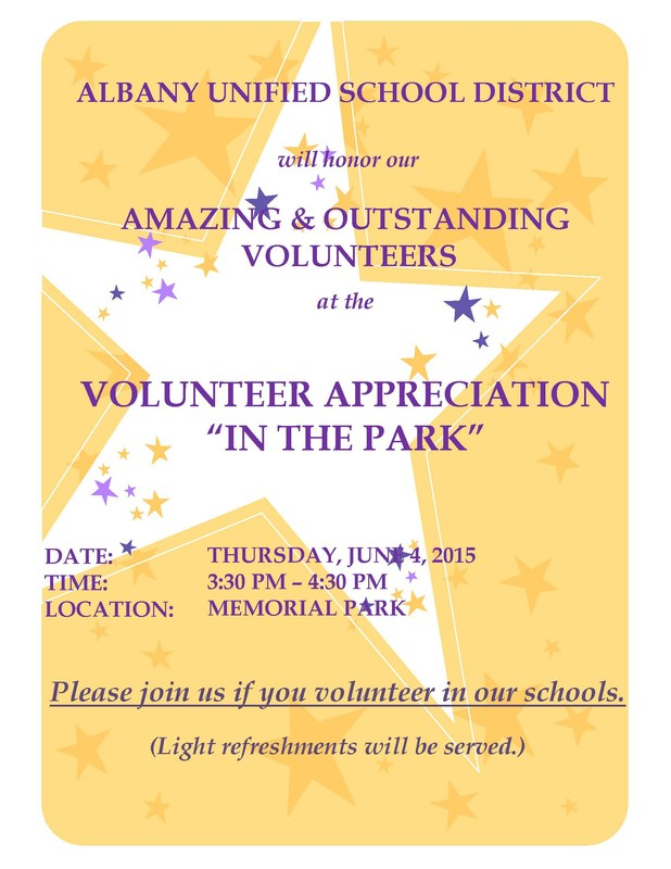 Volunteer Appreciation Invitation for Thurs., 6-4-15 at 3:30 - 4:30 pm. at Memorial Park.