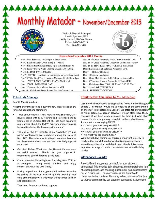 Monthly Matador - Nov/Dec 2015