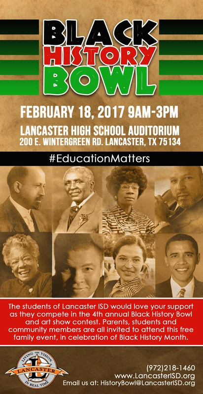 Lancaster ISD to hold 4th Annual Black History Bowl Competition Thumbnail Image
