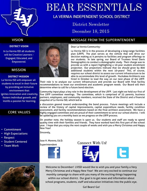 The December Edition of LVISD's Bear Essentials Newsletter is Here!