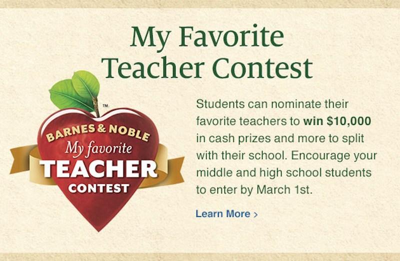 Barnes & Noble My Favorite Teacher Contest