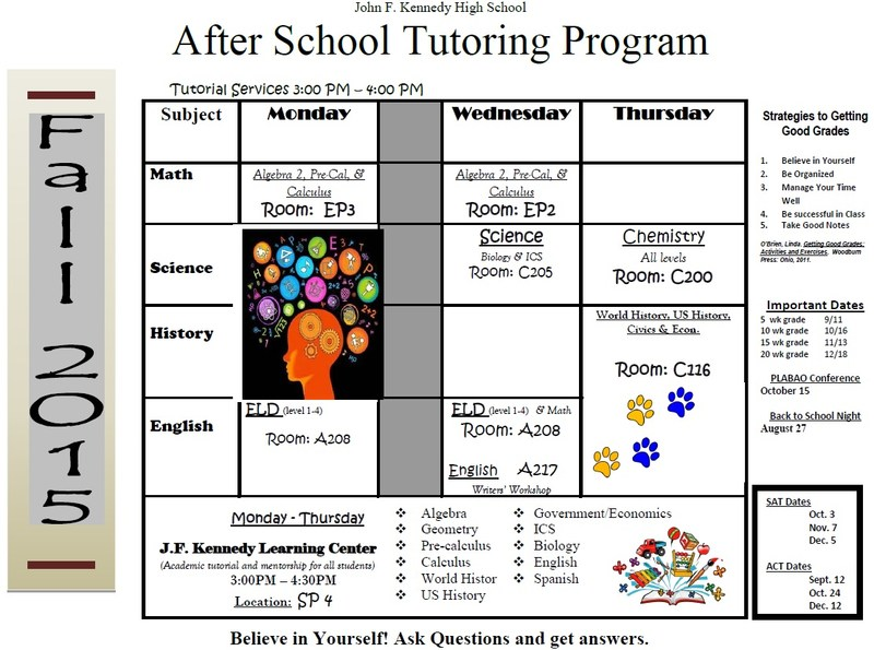 Fall Tutoring Schedule