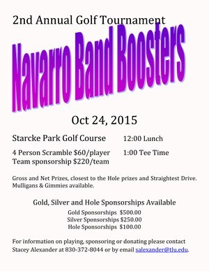 2nd Annual Band Booster's Golf Tournament - October 24, 2015