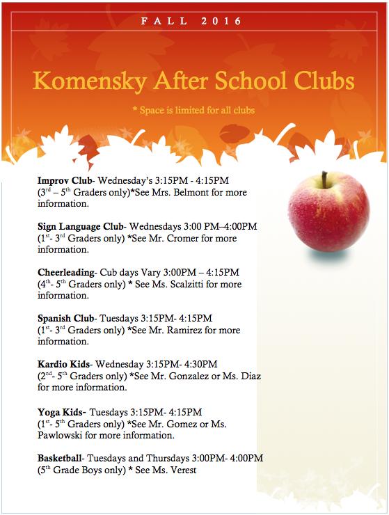 Registration for after school clubs has started!                                                                  La inscripción para los clubes después de la escuela han comenzado!