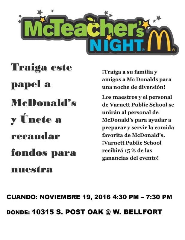McTeacher's Night at McDonald's