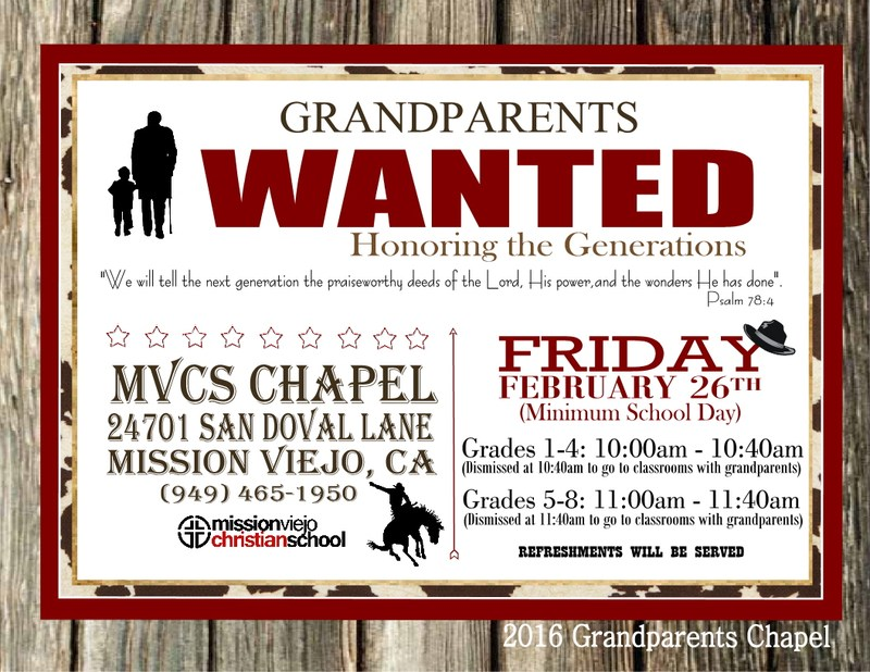 Grandparents Day Chapel is Friday, February 26, 2016