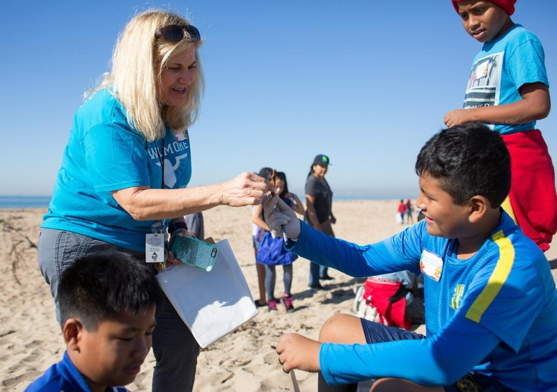 Willmore & Fryberger students participating in a beach clean-up.