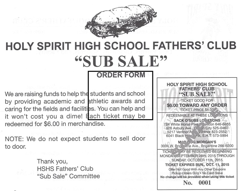 Fathers' Club Annual Sub Sale Redemption Period Extended!