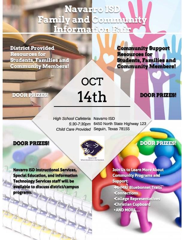 Parent Resource Night Parent Resource Night - October 14 5:30 7:30 - High School Cafeteria