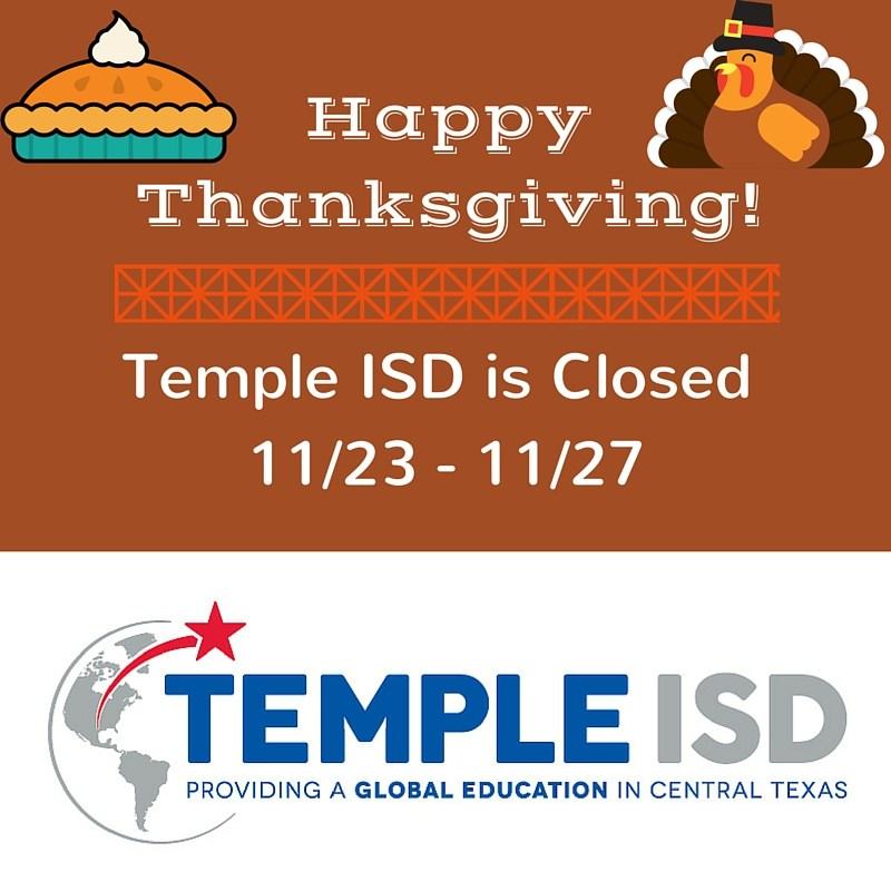 Temple ISD Closed for Thanksgiving Break
