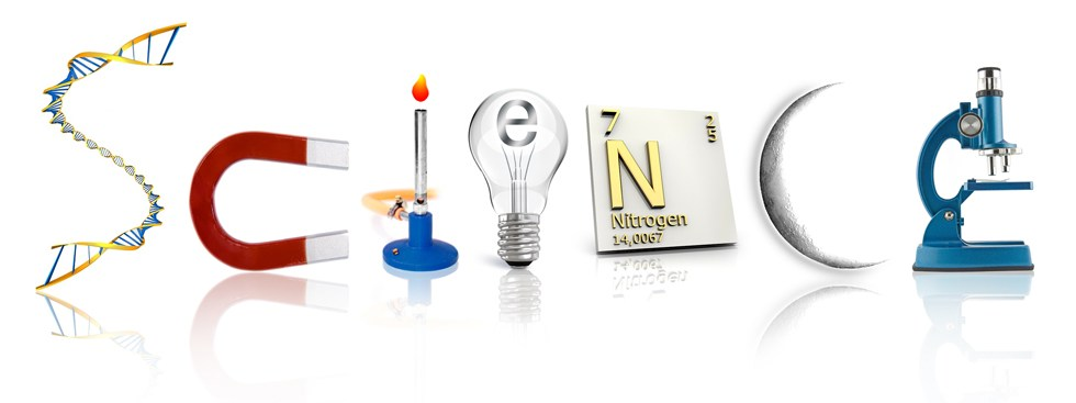Science spelled with science items