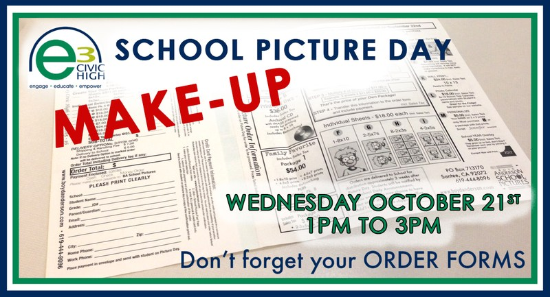 e3 School Picture Day MAKE-UP, October 21st, 2015