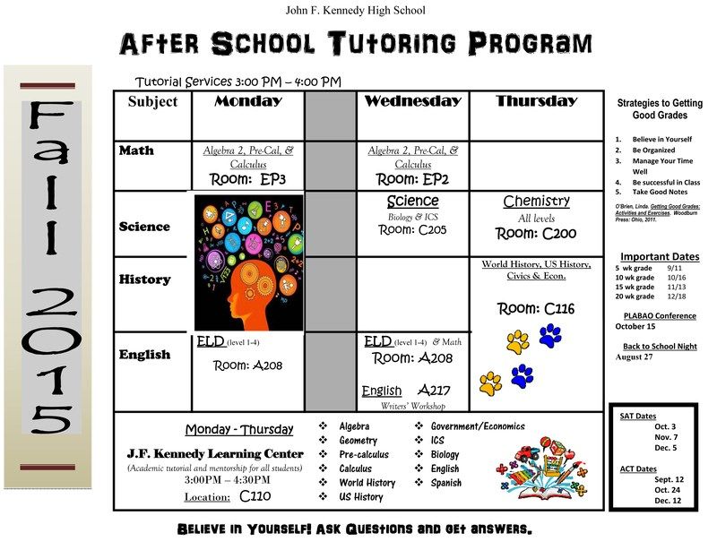 Fall 2015 Tutoring Schedule (Updated 11/6)