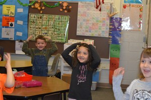 McFall Elementary students learn Spanish in classroom.