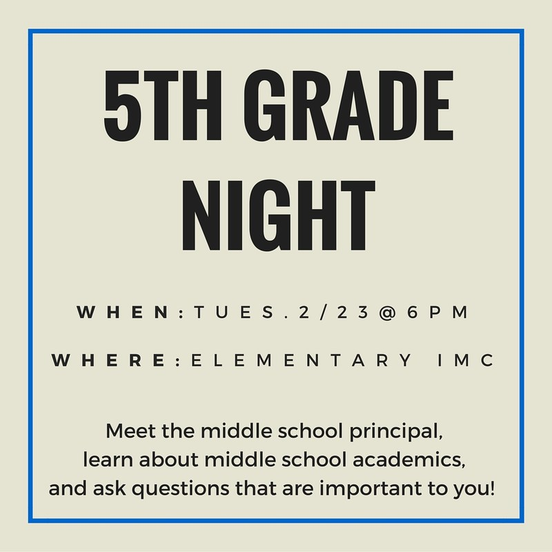 5th Grade Parents Night - Tues. February 23rd
