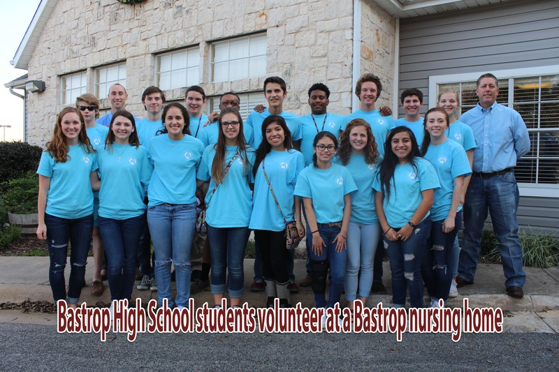 BHS students volunteer at a Bastrop nursing home.