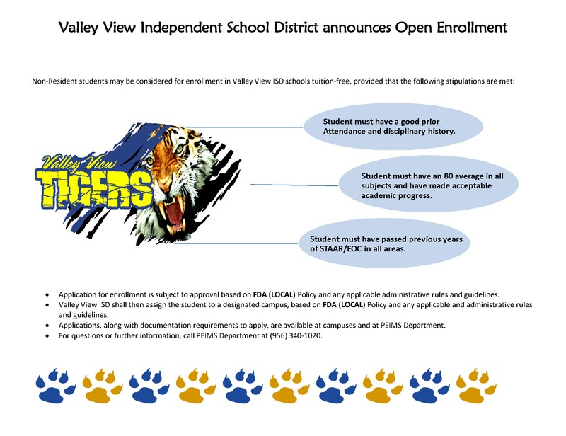 Valley View ISD announces OPEN Enrollment !
