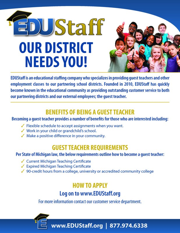 The flyer contains information about how to become a substitute teacher.