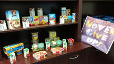 A picture of the foods that Student Support Services is asking to put in the two-week food bags for students.