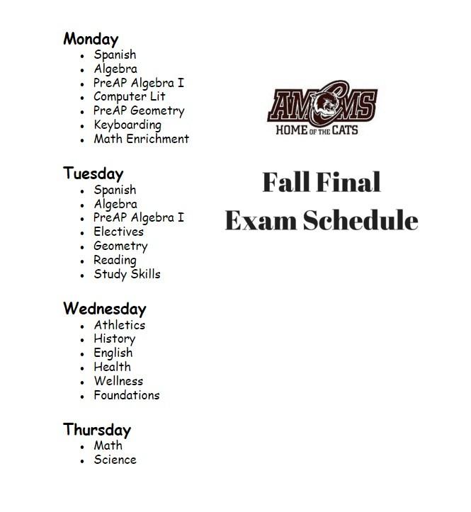 AMCMS Fall Final Exam Schedule