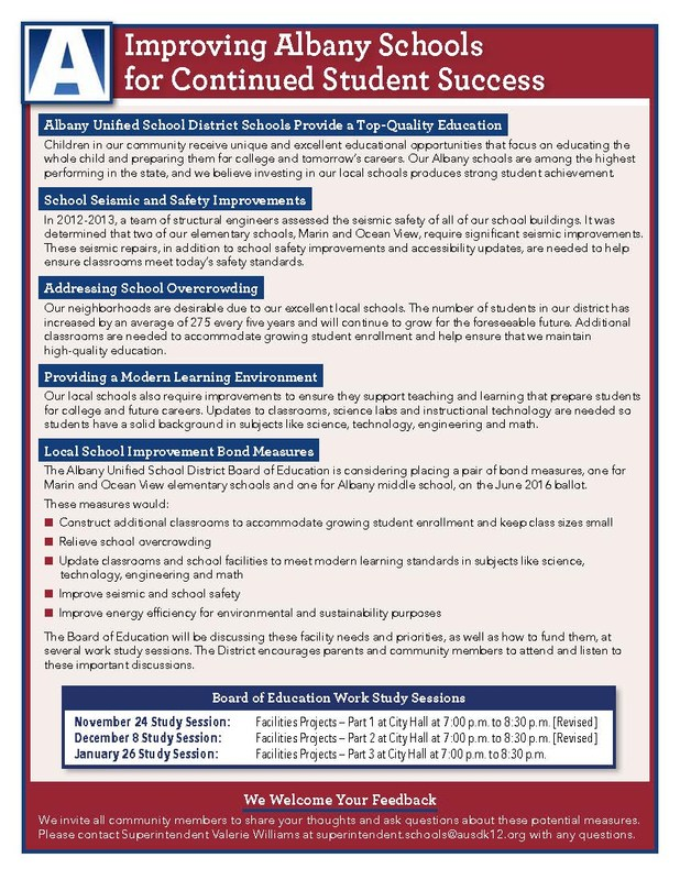 Invitation to Board of Education Workstudys on Facility Needs: REVISED