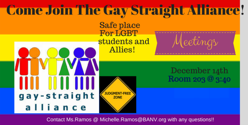 Colorful flyer for Gay Straight Alliance